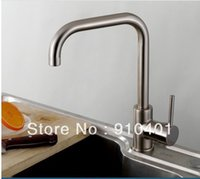 bar sink brushes - And Retail Promotion Brushed Nickel Solid Brass Swivel Spout Kitchen Bar Sink Faucet Single Handle