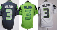 Wholesale Seattle Russell Willson Game Jersey Cheap Men s Navy Blue Green White Game Football Jersey Best Quality Stitched