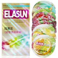 Wholesale 10 pack ELASUN fruit flavored lubricated ice and fire dotted natural latex rubber condome condoms adult products for men