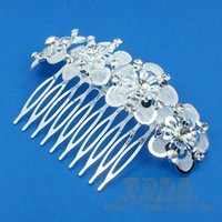 Wholesale Bride with diamond crystal is very shiny silver inserted comb hair comb Korean flower comb hair accessories
