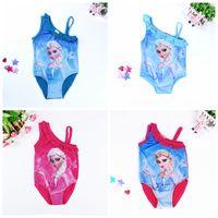 bathing suits online - Top Sale Online Frozen Elsa And Anna Princess Swimwear Girls One Piece Bathing Suit Snow Queen Swimsuit One Shoulder Bodysuit Bikini