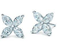 genuine diamond earrings - 925 Sterling Silver Crystal Zircon CZ Diamond Leaf Flower Stud Earrings Women Genuine Fine Silver Ear Pin Bijou in Gift Box