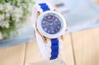 Wholesale Geneva Double Diamond watch for women silicone strap Shiny watches fashion free ship