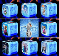 Wholesale Frozen Princess Elsa Anna Olaf Sven colourful LED Flash Alarm Clock Christmas Gift