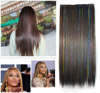 auburn sheets - Colorful five card straight black hair piece hair extension piece metallic sheet laser wire connected hair piece long straight hair piece