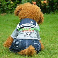 baby dog halloween costume - Pieces Gray Sizes Rocky Baby Style Pet Fleece Sweater Dog Demin Romper Jeans Pants Jumpsuit