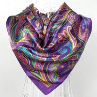 Wholesale 2015 Sping And Autumn Female Satin Scarf Big Square Scarves Printed Women Scarf Purple Polyester Silk Scarf Shawl cm