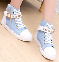 Wholesale New Style Fashion Trend Sneakers For Women Lace Up Round Toe Woman Casual High Top Rubber Outsole Womens Canvas Shoes Retail H429