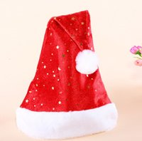 Wholesale Children Baby Red Led Flashing Christmas Hats XMAS Santa Caps Christmas Decoration Light Up Caps Non woven Christmas Cap Red J2543