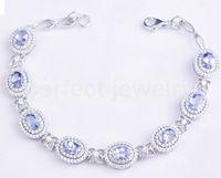 Wholesale Tanzanite chain bracelet Natural real tanzanite sterling silver Perfect Jewelry Fine blue gemstone jewelry DH