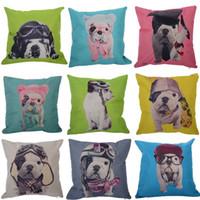 Wholesale 6pcs Hot Vintage Home Decor Cotton Linen Dog Puppy Pillow Case Sofa Waist Car Throw Cushion Cover cm Free Ship