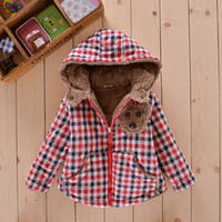 baby hoodie pattern - 2015 Winter Children Cotton Jackets Colourful Plaid Full Outwear For Baby Cute Little Bear pattern Kids Hoodie Coats Four Colours CR271