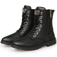 men military boots fashion - Urban Fashion Leather Motorcycle Ankle Boots Mens Retro Stylish Rocky Shoes Martin Military Uniform Boots With Charm Lace Up Zip Hand Sewing