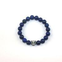 beaded tiger - Lapis Lazuli Beaded Bracelets Crystal Tiger Charm Zinc Alloy Handmade Wrist Ornament Blue Beads Bracelets Jewelry TR004