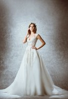 Wholesale 2015 Zuhair Murad Wedding Dresses Portrait Sleeveless Backless Ball Gown Organza Applique Lace Fashion Sweep Train High Quality Bridal Gown