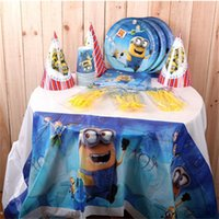Wholesale Party use SET of Tablecloths plate cutlery Minions Despicable Me Children Birthday Party Festerval Disposable plastic Sets