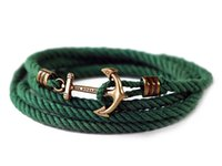 Wholesale KJP Bracelet hot sell fashionable braid bracelets new arrive cotton with alloy anchor Bracelet