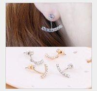 arc geometry - earring jewelry wholestone South Korean actress with paragraph elegant solid geometry arc rhinestone stud earrings B115 cheap