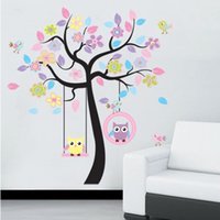 Wholesale Extra Large DIY Colorful Owl Tree PVC Vinyl Removable Decals Home Decoration for Nursery Child Kids Bedroom Wall Stickers Mural