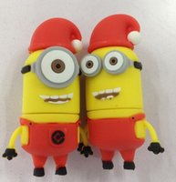 gifts usb flash drive gifts - Despicable Me usb Flash Drive External Storage cartoon Christmas little yellow men GB usb disk stick memory free gift box