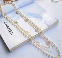 Wholesale New arrive Long necklace hangings flower multi layer pearl rose female necklace EH201