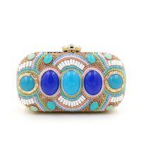 Wholesale Black diamante crystal bead clutch bag bridal hand bags Evening Bags diamond china style bridal evening bag
