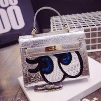 bags kelly - The new crocodile Kelly bag with money Girls star eyes handbag portable shoulder diagonal small bag