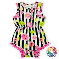 Wholesale New Style Baby Floral Bubble Romper Kids Pom Pom Floral Plain Striped Rompers Infant Toddlers Clothing
