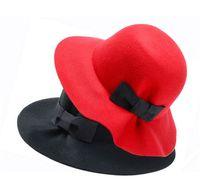 Cheap Vintage Womens Wool Cashmere Bowknot Caps Floppy Big Brim Church Caps Autumn & Winter Ladies Fashion Bucket Hat 2016 Trendy K1038
