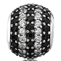 sterling silver beads - Black and White Crystal Round Charm Sterling Silver European Charms Zircon Bead Fit Bracelets Snake Chain DIY Jewelry