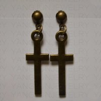 Wholesale American Style temperament Prevent allergy Ear Cuff Women favorite Ancient bronze cross Simple lovely Earrings