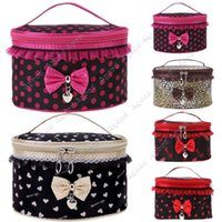 Wholesale New hot Fashion women Girl s Sweet Lace Bowknot Travel Makeup storage Toiletry bag Beauty Case Cosmetic Bags SV012825