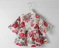 Wholesale 2015 summer girl s floral babydoll top shirts ruffle half sleeve shirt blouses