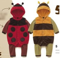 bee romper - Lovely Ladybird Bee Baby Boys Children Kids Thicken Warmth Bodysuits Girls Jumpsuit Romper Babies One Piece Baby Clothing Clothes E0908