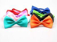 Wholesale Adjustable cat dog cheap Bow necklace Tie Necktie Neck Collar Cute gift mix colours