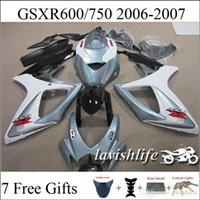 Moto kit del carenado para Suzuki GSXR750 GSXR600 GSXR 750 GSXR 600 k6 Gris Blanco Negro Color Carrocería Set 2006 2007 06 07 ABS + 7 Regalos