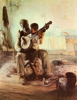 banjo lessons - Original High quality Portrait Oil Painting The Banjo Lesson x36inch