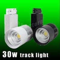 Wholesale CE UL LED track light W COB high lumens high quality for store shopping mall lighting lamp Color optional White black Shell led Spot light