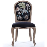 Wholesale American brushed restaurant doing the old wood chair armrest scallops copper ingots embroidery bar chair