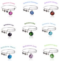 Wholesale Alex and Ani Crystal Birthstone Bracelets Pendant of Months Charm Jewelry Bangles Expandable Bracelet for Girls Women Ladies Gifts