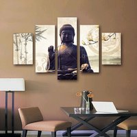 Wholesale 5 the canvas the figure of Buddha canvas print sitting room bars and hotels
