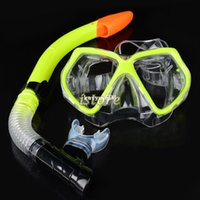scuba diving equipment - New Fluorescence Yellow Scuba Diving Equipment Dive Mask Dry Snorkel Set Scuba Snorkeling Gear Kit TK0868