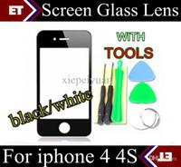 Revisiones Iphone vidrio de alta calidad-Reemplazo de cristal de la lente de la pantalla delantera a estrenar de la alta calidad de CHpost para el iphone 4 4S + tools JP6