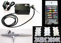 airbrush nails salon - Salon Airbrush Nail art system compressor kit with airbrush Stencil AC01BKN
