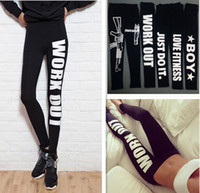Cheap Fashion Woman Clothing WORK OUT Letters Leggings Slim Sexy Sportswear Gym Sports Fitness Leggings Winter spring Pants For Women