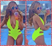 Wholesale Sexy Cut Out Swimsuits - Deep V New Style Sexy Monokini Swimsuit One Piece Swimwear Fashion Bandage Bodysuit Backless Neon Yellow Cut-out Thong Bottom Bathing Suits