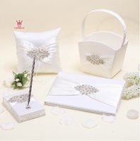 bead basket - 2015 new set wedding favors unique white beads drilling devise Guestbook Pen Set Ring Pillow Flower Basket