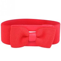 Wholesale New Fashion Women Lady Elastic Wide Stretch Buckle Bowknot Waistband Waist Belt Colors
