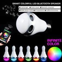 base speakers - Wireless Bluetooth Speaker E27 Base Music Player Smart Sound Box RGB Colors W LED Light Bulb
