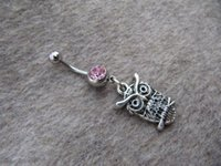 Wholesale Silver small owl hand Belly Button Jewelry ring cute owl Bellybutton Ring